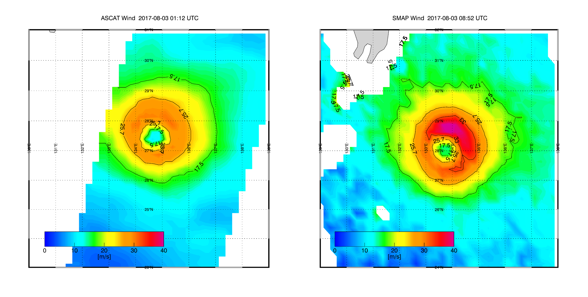 Noru wind field from ASCAT and SMAP