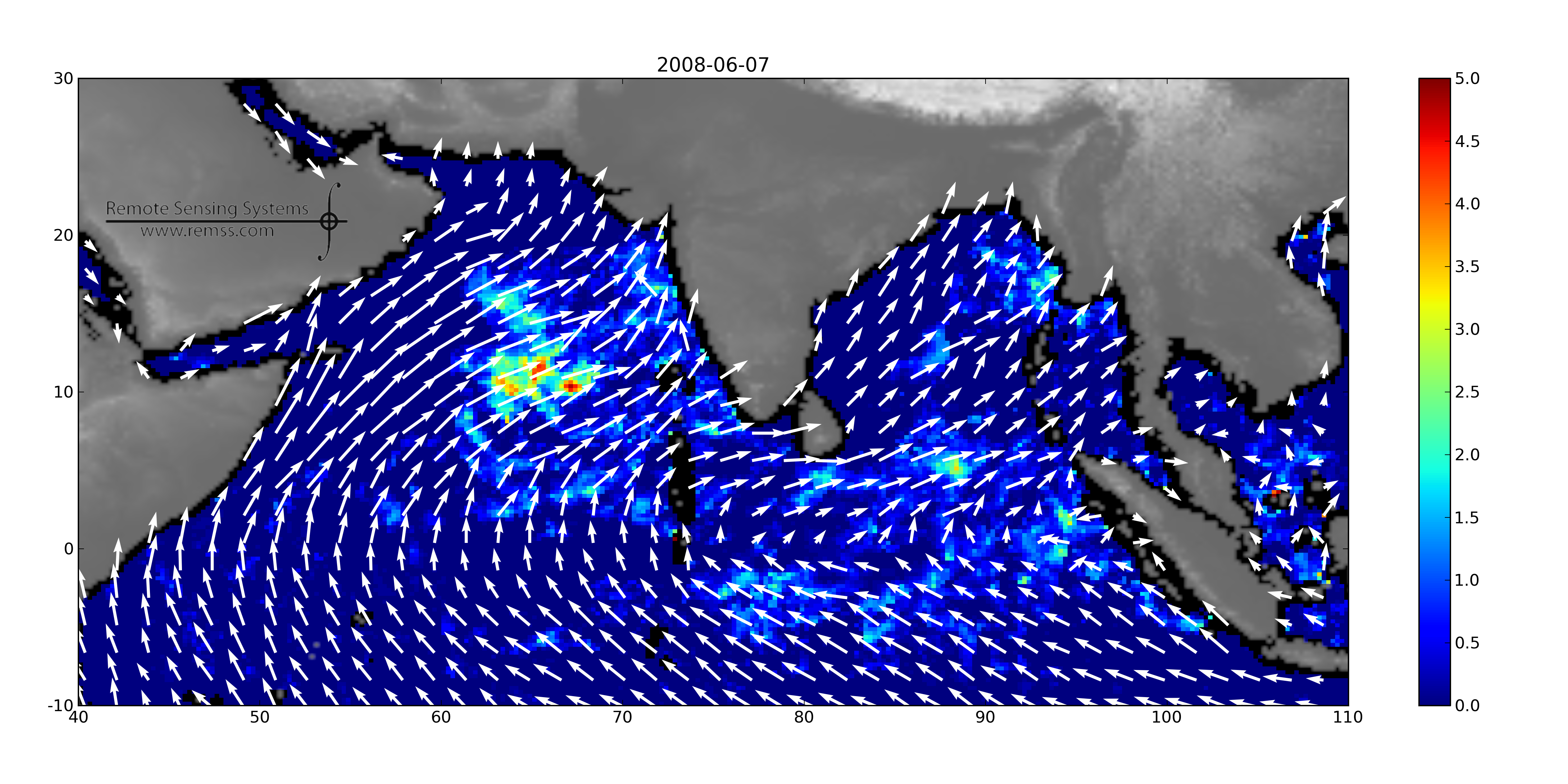 Figure 3. Weekly average wind direction and precipitation during the monsoon (top) and after the monsoon (bottom) in 2008.  These images were made from RSS weekly QuikScat winds and RSS weekly SSM/I F13 rain rate.